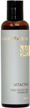 Тоник Cannabis для сужения пор для жирной и нормальной кожи лица с экстрактом каннабиса Vitaktive Tonic for oily and normal skin 200 мл (4888978458957)