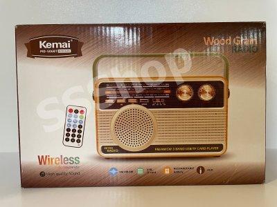 Радиоприемник Bluetooth аккумуляторный с пультом управления радио Kemai (РЕТРО-506-BT) Светлое дерево