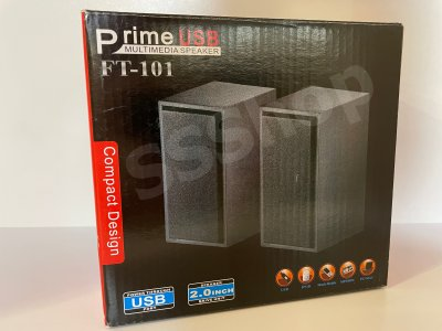 Компьютерные колонки для ПК и ноутбука от USB компактные и мощные FT-101 Black c регулировкой звука