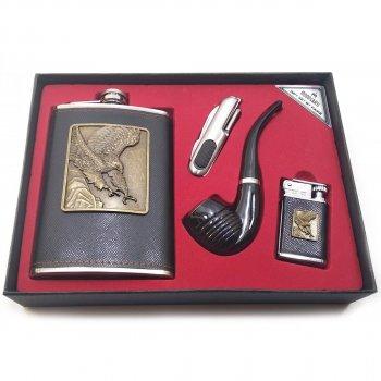 Фляга С Трубкой, Ножом И Зажигалкой В Подарочной Упаковке (24Х17,5Х4 См) 32226