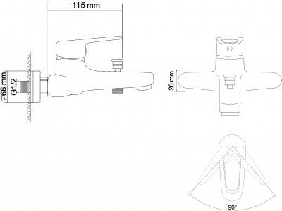 Змішувач для ванни RJ Narciz RBZ100-3