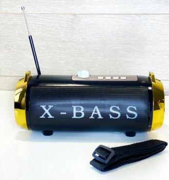 Колонка Golon X-bass большая 180 с радио Черно-золотистая