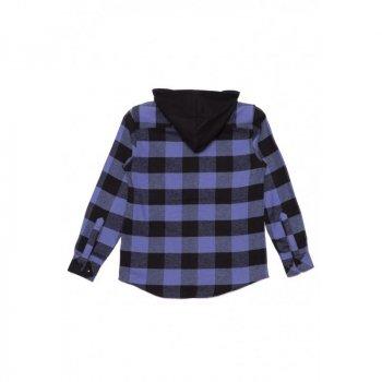 Рубашка с капюшоном в клетку REPORTER YOUNG черно-фиолетовый 033405/680