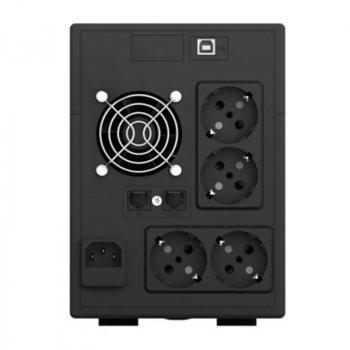 ИБП NJOY Cadu 2000 (UPCMTLS620HCAAZ01B), Lin.int., AVR, 4 x Schuko, USB, LCD, пластик