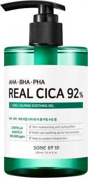 Успокаивающий гель Some By Mi AHA.BHA.PHA Real Cica 92% Cool Calming Soothing Gel с центеллой азиатской и кислотами 300 мл (8809647391098)