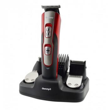 Профессиональная машинка триммер для стрижки GoVern Geemy GM-592 11 в 1 (+1 расческа) для волос, бороды, носа, ушей и тела Черно-красная