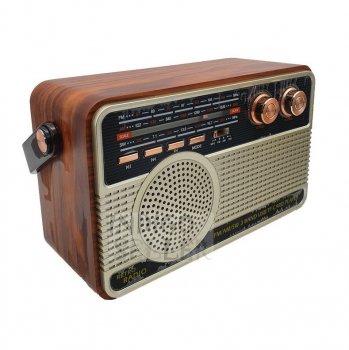 Радіоприймач Kemai Bluetooth від акумулятора і мережі, з пультом управління темне дерево MD-IS-506BT