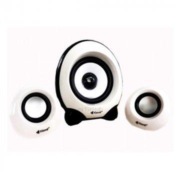 Колонки для ПК и ноутбука Kisonli U2300 компактные маленькие громкие и мощные для компьютера ноутбука телефона смартфона 5 Вт – акустическая система + качественный звук - Белый