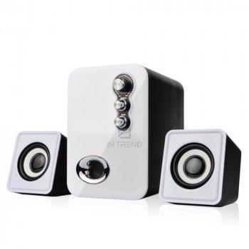 Колонки для ПК и ноутбука Kisonli U2100 компактные маленькие громкие и мощные для компьютера ноутбука телефона смартфона Mp3 Mp4 сабвуфер 5 Вт – акустическая система + качественный звук - Белый