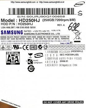 "Жорсткий диск для комп'ютера Samsung SpinPoint 250GB 3.5"" 8MB 7200rpm 3Gb/s (HD250HJ) SATAII Б/У"