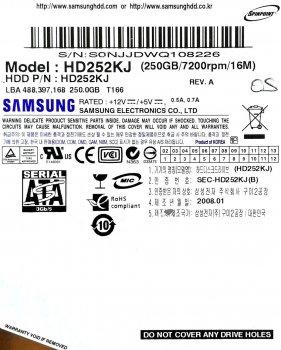 """Жорсткий диск для комп'ютера Samsung SpinPoint 250GB 3.5"""" 16MB 7200rpm 3Gb/s (HD252KJ) SATAII Б/У"""