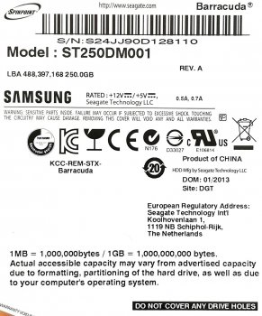 "Жорсткий диск для комп'ютера Samsung Spinpoint 250GB 3.5"" 16MB 7200rpm 3Gb/s (ST250DM001) SATAII Б/У"