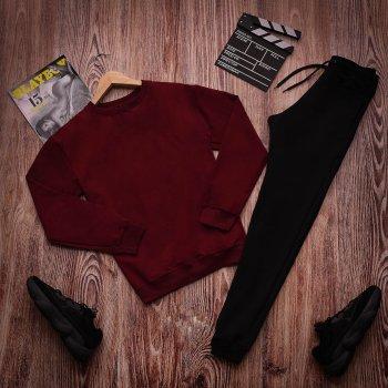 Мужской спортивный костюм двойка Fashion Man OC2586 черно-бордовый