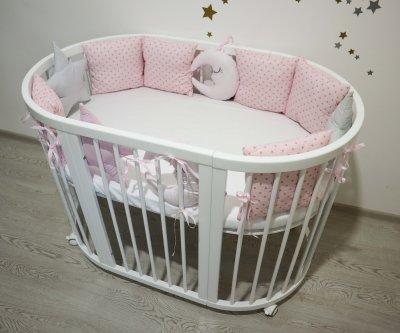 Набор IngVart Кроватка трансформер 9-в-1 Белая + Матрас + Постельный комплект Белая ночь розовый (ФР-00001160)