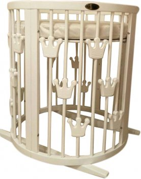 Кроватка трансформер IngVart Smart Bed Round короны молочная (1379001)