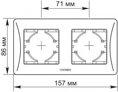 Рамка VIDEX Binera на 2 поста горизонтальная Кремовая (VF-BNFR2H-CR)