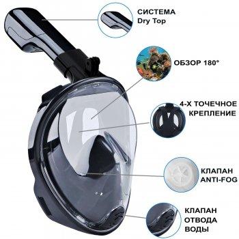 Полнолицевая панорамная маска для плавания FREE BREATH (S/M) Черная с креплением для камеры