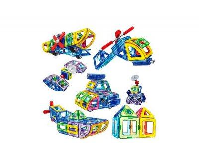 Магнитный конструктор Play Smart цветные магниты, 54 детали + книга с вариантами для сборки