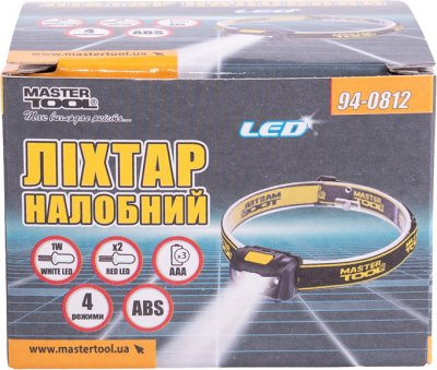 Ліхтар налобний Mastertool 4 режими, 59 х 41 х 32 мм, WHITE LED + 2 x RED LED, 3 x AAA, ABS (94-0812)