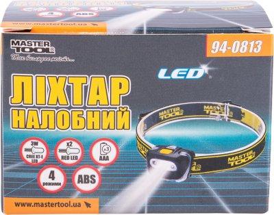 Ліхтар налобний Mastertool 4 режими, 55 х 35 х 40 мм, CREE XT-E WHITE LED + 2 x RED LED, 3 x AAA, ABS (94-0813)