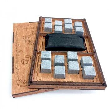 Камни для виски Whiskey stones USA Original Wood 16шт из стеатита + мешочек Сертифицырованные