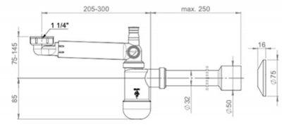 """Сифон для раковины PREVEX Preloc c накидной гайкой 5/4"""" со сливной трубой 32/50 мм (PR3-N4N35-001)"""