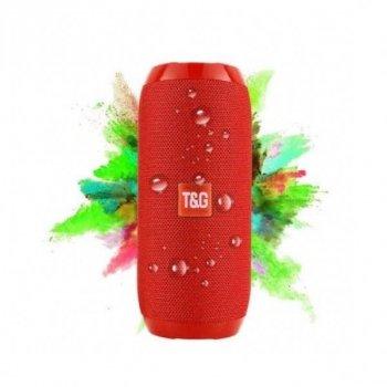 Портативная Bluetooth колонка T&G 117, влагостойкая c функцией громкая связь, FM радио, красная