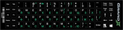 Наклейка на клавиатуру Grand-X 68 keys Green, Latin Ukr white (GXDGUA)