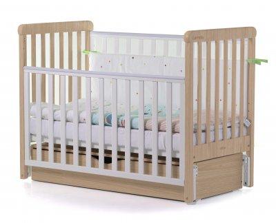 Кроватка детская 2 в 1 Carello Alba деревянная с коробом маятникового механизма + ящик для хранения Белый/Бежевый