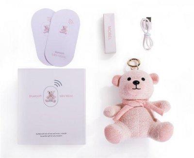 Портативна бездротова Bluetooth колонка MOBEI Іграшка М'який Ведмедик Брелок Рожевий