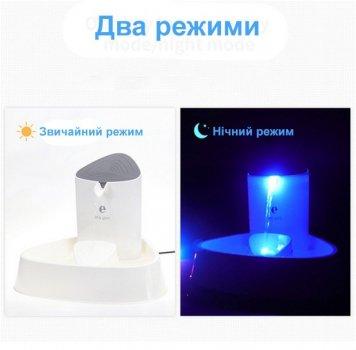 Поилка-дозатор для кота автоматическая ESL PET c подсветкой и фильтром 1.5L (white) P033