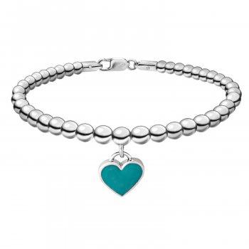 Срібний браслет перевага з м'ятним сердечком на нитці 16 cava.cool