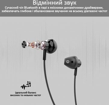 Навушники Promate Bluetooth 5 Dynamic-X5 IPX5 Black (dynamic-x5.black)