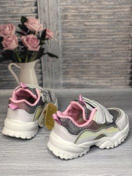 Дитячі кросівки на дівчинку Clibee білі зі сталевим (Botya)