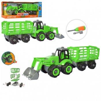 Детский игровой конструктор на шурупах Limo Toy City Development зеленый трактор бульдозер 37 см + отвертка