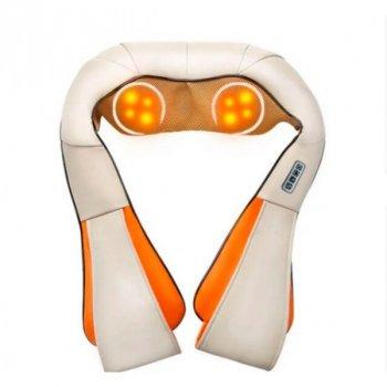 Массажер роликовый Shiatsu для шеи, спины и всего тела с подогревом Бежево-оранжевый