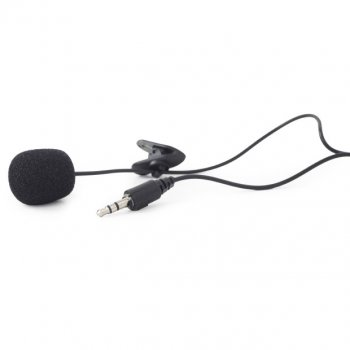 Петличный микрофон проводной Gembird MIC-C-01, черный