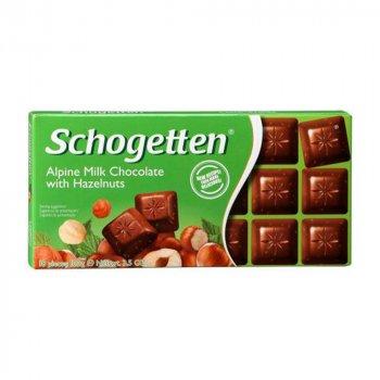 Молочный шоколад с кусочками лесного ореха Schogetten Alpine Milk with Hazelnuts 100г (00-00000012)