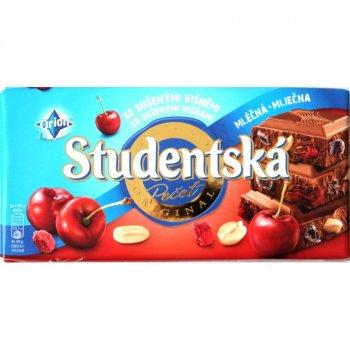 Молочный шоколад с арахисом, вишней Studentska pacet 180г (00-00000060)
