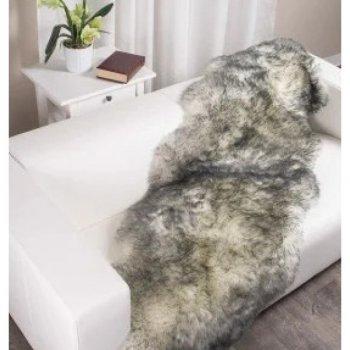 Шкура з овчини Lizhnyk (С802) з 2-х шкур овеча хутряна накидка попеляста