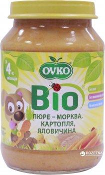 Упаковка овочево-м'ясного органічного пюре OVKO Морква, картопля і яловичина з 4 місяців 190 г x 6 шт. (8586015172700)
