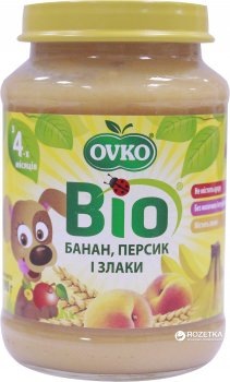 Упаковка фруктового органічного пюре OVKO Персик, банан і злаки з 4 місяців 190 г x 6 шт. (8586015172717)