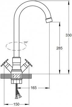Змішувач кухонний GF (CRM)/S-21-278F