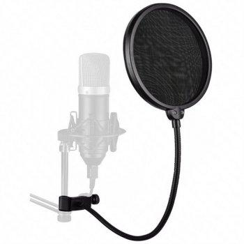 Студійний конденсаторний мікрофон UKC M-800 зі стійкою і вітрозахистом Чорно-золотий