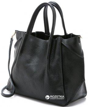 Женская сумка кожаная Poolparty soho-remix-black Черная (2000000014586)