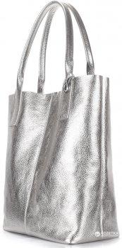 Женская серебристая кожаная сумка POOLPARTY Podium (podium-silver)