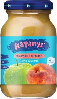 Упаковка дитячого пюре Карапуз Яблуко та персик без цукру 170 г х 12 шт. (4820134721987_4820134722236)