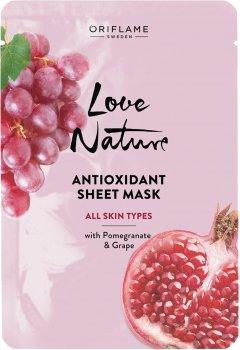 Антиоксидантная тканевая маска Oriflame Love Nature с гранатом и виноградом 24 мл (42135) (ROZ6400105432)