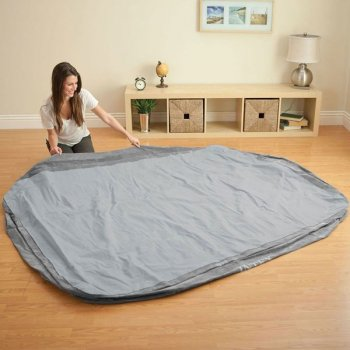 Надувне ліжко Intex 64418 (152х203х56 см) вбудований насос двоспальне Сіра