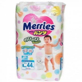 Подгузники-трусики японские Merries (Мерриес) L (9-14кг) 44шт.